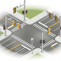 Technical Vector Illustration of roadway intersection