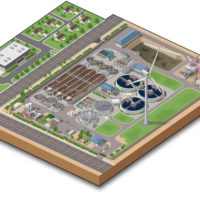 Technical Vector Illustration of Industrial Water Treatment Plant