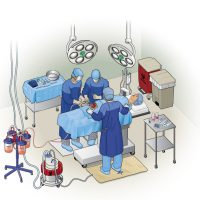 Technical Vector Illustration of Surgery